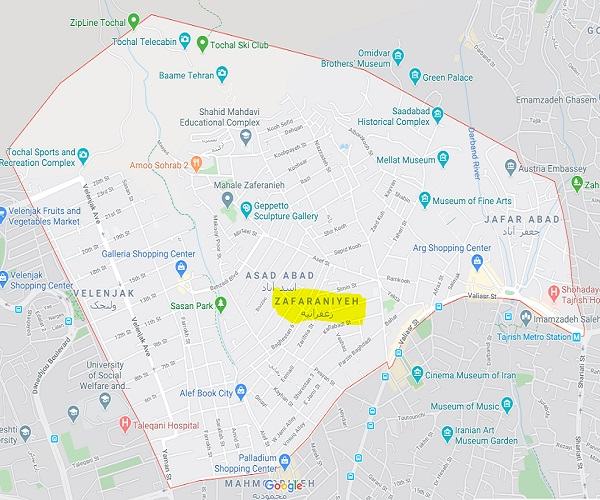 map Read more about Zafaraniyeh in Tehran and see rental Properties.